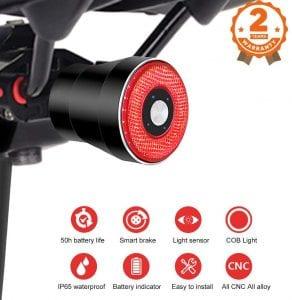 Luz Trasera de Bicicleta Inteligente Recargable USB