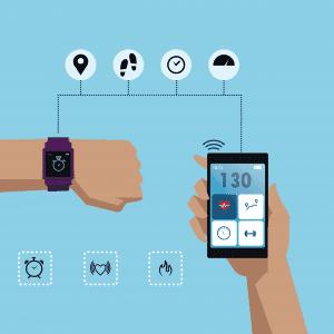 La imagen contiene un smartwatch o monitor de actividad con funciones para trail running